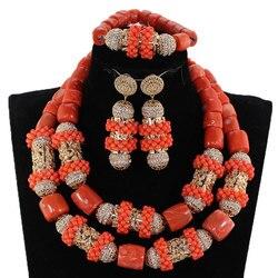 Neue Original Korallen und Gold Chunky Braut Schmuck Set Afrikanische Korallen Perlen Schmuck Set für Nigerian Hochzeit Geschenk für Frauen CG063