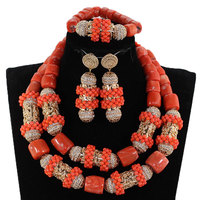 New Original Coral and Gold Chunky Bridal Jewelry Set African Coral Beads Jewelry Set for Nigerian Wedding Gift for Women CG063