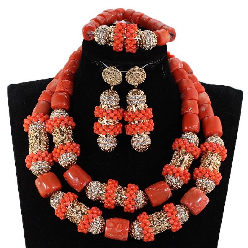 Nouveau corail Original et or gros ensemble de bijoux de mariée perles de corail africain ensemble de bijoux pour cadeau de mariage nigérian pour les femmes CG063