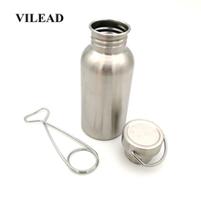 VILEAD Bushcraft  Water Bottle with Hook Stainless Steel Flask Wide Mouth Jar Leak-Proof for Camping Picnic Hiking 350/500/750ml