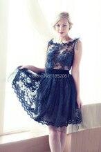 2015 neueste Kleid Designs Kurzen Spitze Abendkleid A-linie O-ansatz Sleeveless Formales Partei-kleider China