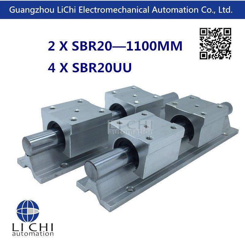 ФОТО 4pcs SBR20UU Linear Blocks and 2pcs SBR20- 1100 mm Linear Rails for CNC