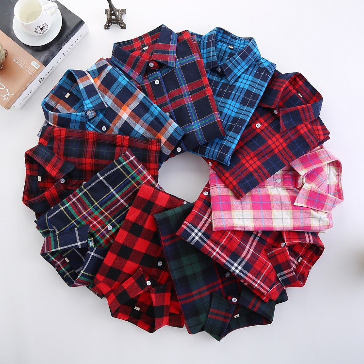 2018 Spring New Brand Women   Blouses   Long Sleeve Cotton Flannel Plaid   Shirts   Women Casual Plus Size   Shirt   Blusas Feminina 20Color
