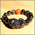 Wholesale Black Obsidian Semi-precious Stone Hand Carved Pixuy Dragon Women Men's Bracelet Chinese Traditional Talisman Jewelry