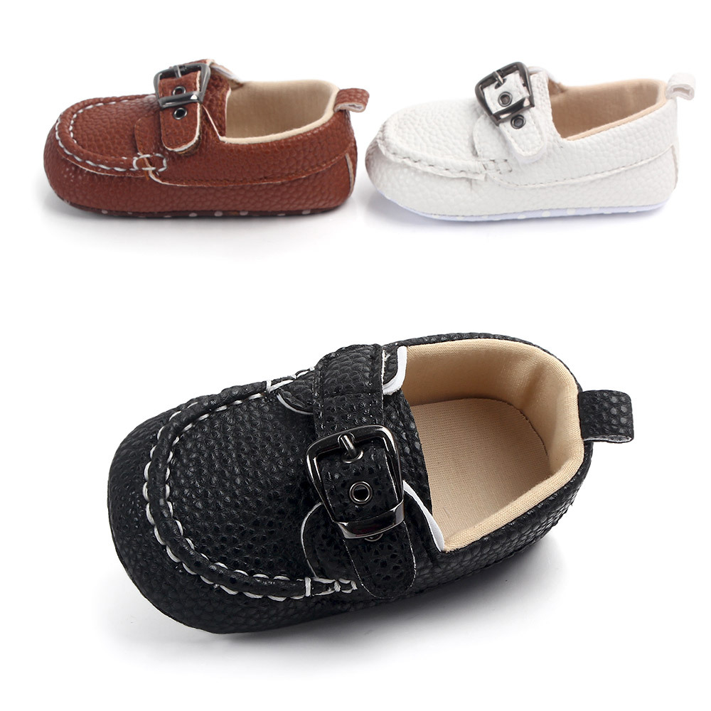2019 New Baby Boys First Walkers PU Leather Infant Single Shoes Soft Cloth Bottom Newborn Baby Casual Shoe Bebe Fashion Booties