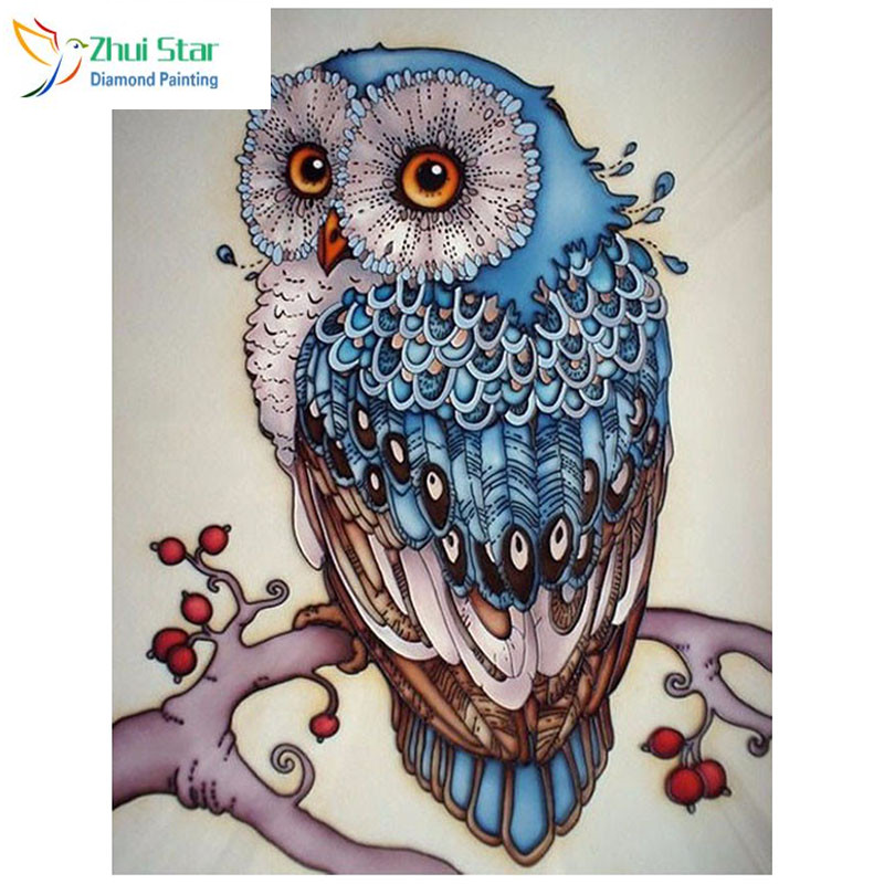 5D DIY Diamond Painting Owl Cross Stitch Lovely Blue Owl Animal Needlework Home Decorative 3D Full Square Diamond Embroidery zx
