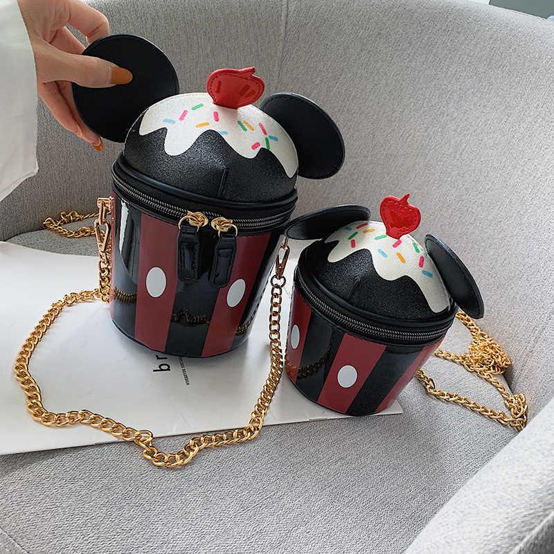 لطيف الكرتون الاكواب ذات الاذن كعكة تصميم بو الجلود أزياء السيدات حقيبة كتف حمل Crossbody البسيطة حقيبة المرأة الحقيبة حقيبة صغيرة حقيبة يد