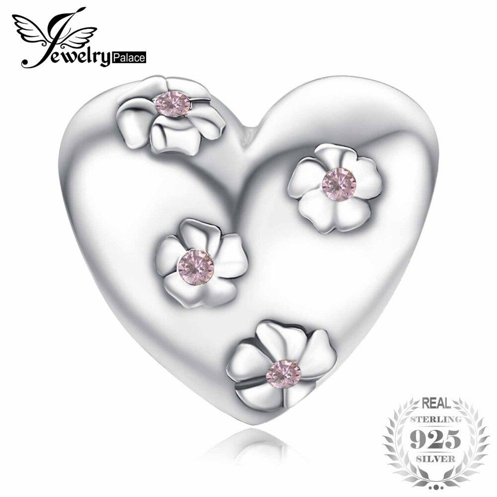 100% QualitäT Jewelrypalace Romantische Liebe Blume Herz Erstellt Rosa Saphir 100% 925 Sterling Silber Charms Perlen Diy Schmuck Für Frauen Geschenke