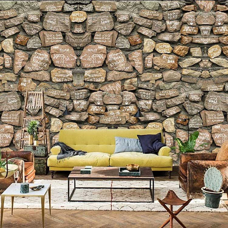 Buy 3d stone wallpaper modern pvc for Wallpaper decoration for home