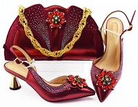 Beautiful wine women pumps match handbag set with crystal flower style african shoes and bag for dress MM1085