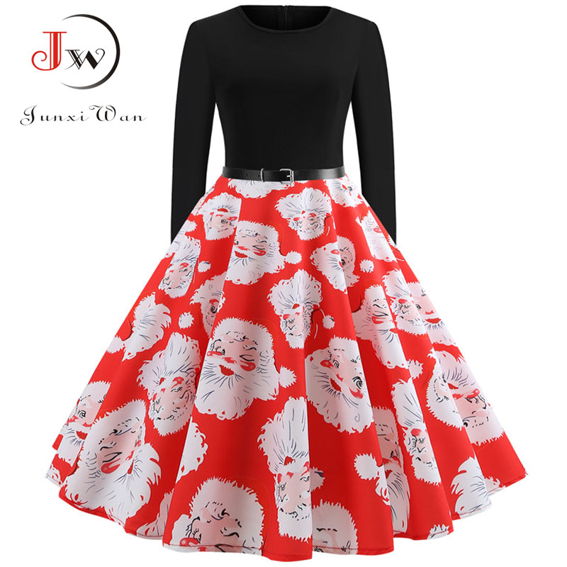 Winter Women Christmas Dress Long Sleeve Print Vintage Party Dress Elegant Black Patchwork Bodycon Dresses Vestidos Plus Size 17