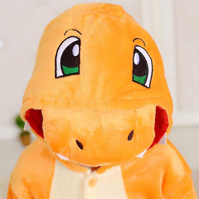Pokemon Cartoon Onesie For Kids Animal Charizard Dragon Party Pajamas Boys Girls Winter Sleepwear Warm Flannel Long Sleeve Suit