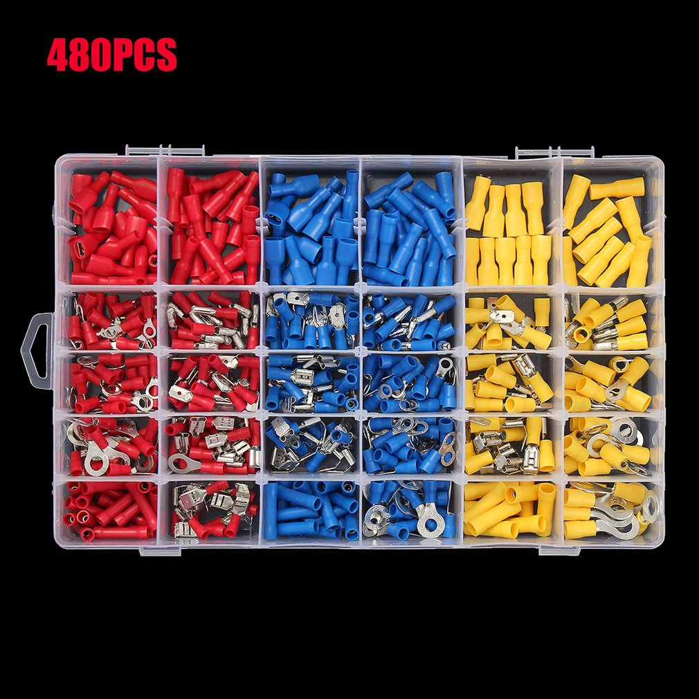 2017 New 480Pcs Insulated Wiring Terminals Electrical Wire Terminal Crimp Connector Kit Different Size Assortment with Case Sale 21401 3 2 906578