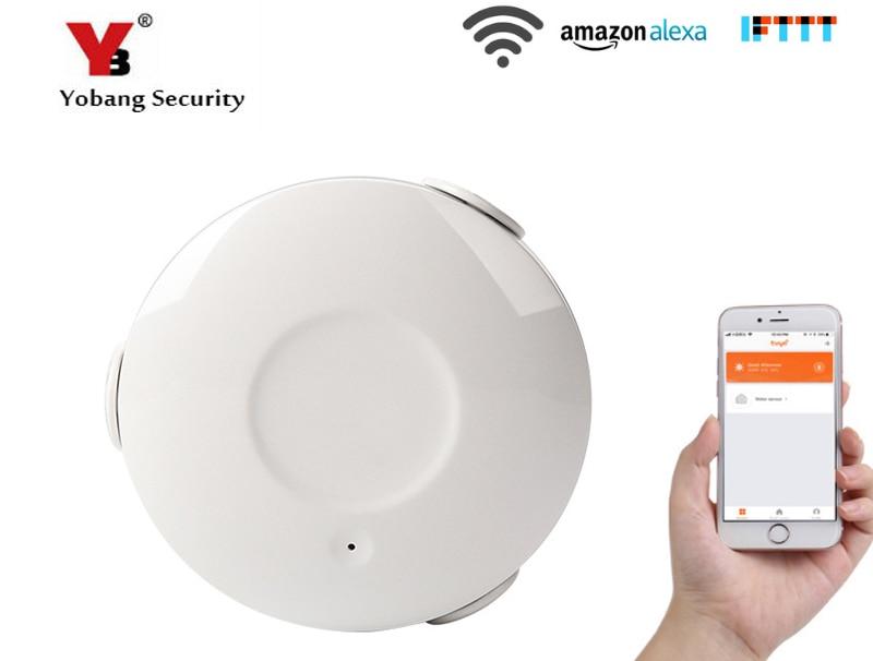 Yobang Secuirty APP Remote Control WIFI Wireless Water Flood Sensor Alarm Water Leakage Sensor Detector Support Amazon Alexa Sensor & Detector     - title=