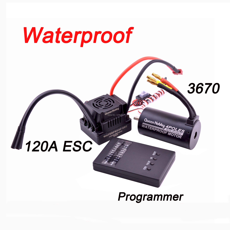 Waterproof 3650 3900KV  / 3660 3300KV  / 3670 2150KV Brushless Motor 60A 80A 120A Brushless ESC Combo Set For 1/8 1/10 RC Car