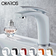 OKAROS Basin Faucet Water Tap Bathroom Faucet Solid White Black Red Brass Chrome Gold Finish Single Handle Water Sink Tap Mixer(China)