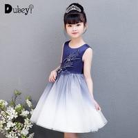 Navy Blue Princess Dress Baby Girl Elegant Evening Prom Ball Gown Tutu Dress Flower Girl Party Dress for Wedding and Birthday
