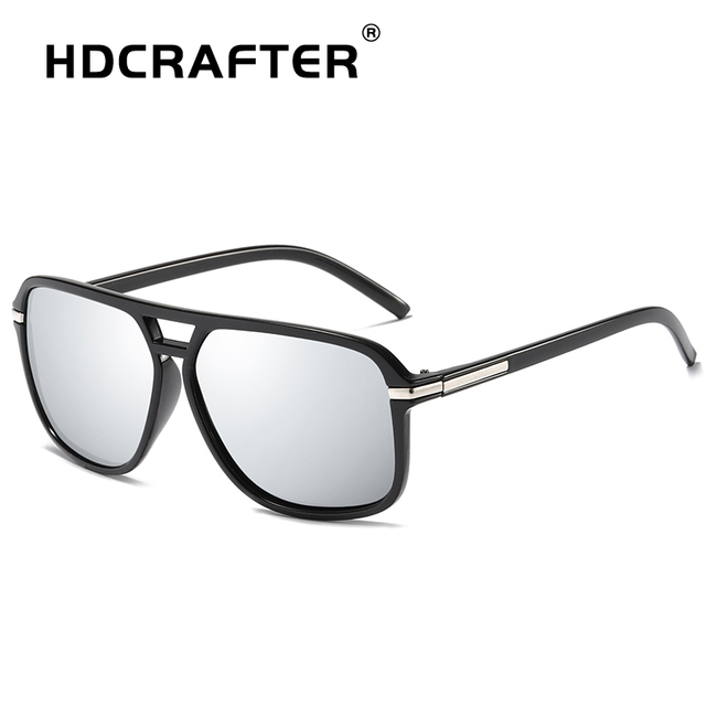 HDCRAFTER square sunglasses men polarized shield mirrored sun glasses for male uv400 driving man sunglasses eyewear goggle