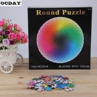 Hot ! 1000 pcs/set Rainbow Round Puzzle Kids Jigsaw Puzzles Pattern Paper DIY Adult Kids Educational Toys Blazing Color or Gift