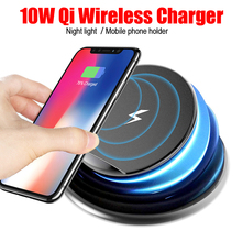 New QI Standard Wireless Fast Charger 10W With Small Night Light Mobile Phone Holder For Apple Samsung Wireless Charger цена 2017