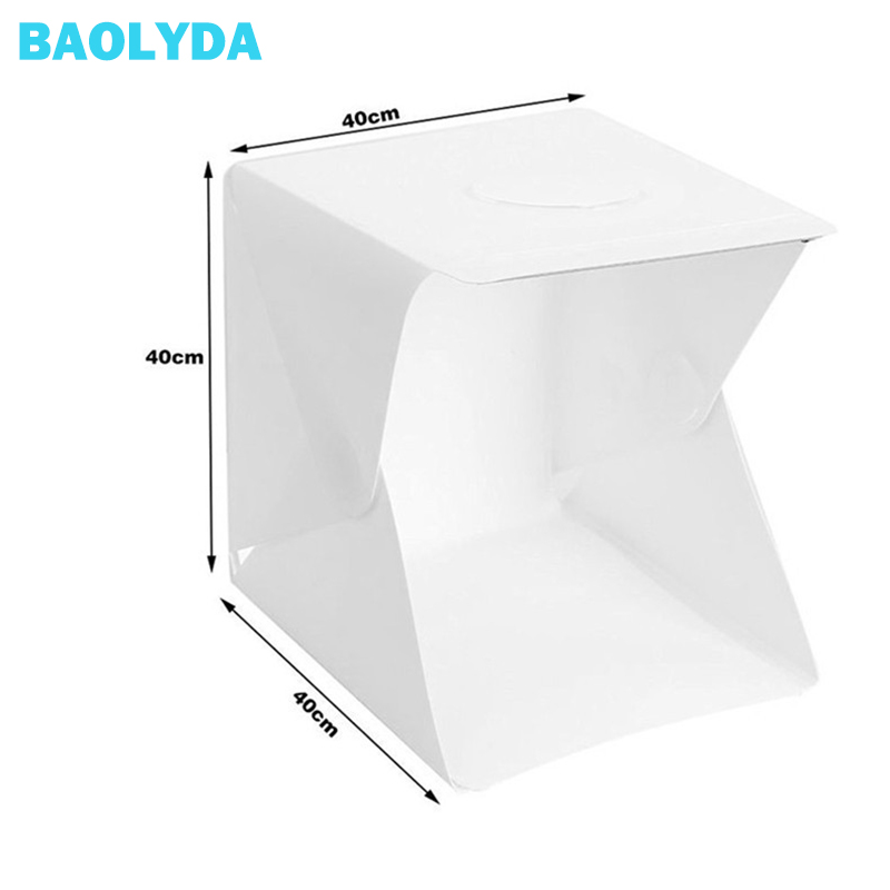 Baolyda 40x40x40cm Mini-fonds de photographie de Studio pliable Portable Softbox boîte à lumière LED fond de Studio Photo Lightbox