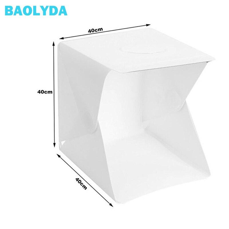 Baolyda 40x40x40cm Mini-fonds de photographie de Studio pliable Portable Softbox boîte à lumière LED fond de Studio Photo Lightbox