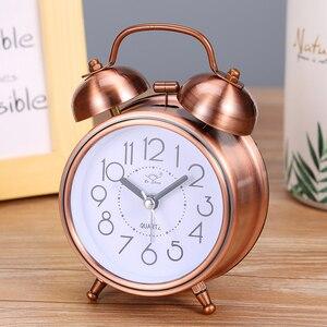 Creative Alarm Clock Vintage Retro Silent Pointer Clocks Playing Bell Loud Alarm Clock with Light Bedside Home Decor
