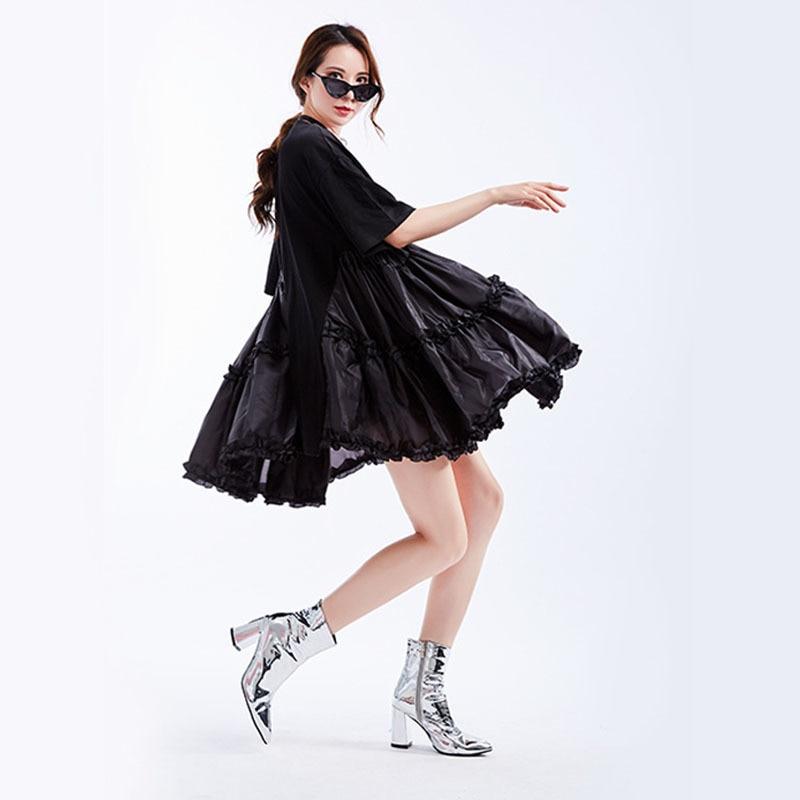 [EAM] 2019 New Spring Summer Round Neck Half Sleeve Black Loose Big Size Ruffles Pleated Stitch Dress Women Fashion Tide JS791