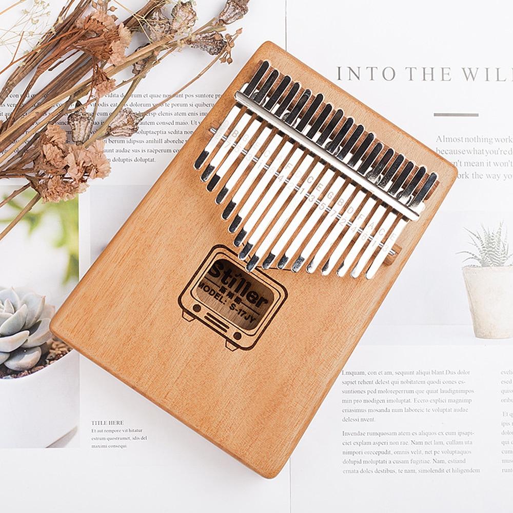 17 Keys Kalimba Mbira Thumb Piano Traditional Musical Instrument Accompaniment With Tuning Hammer Scale Sticker