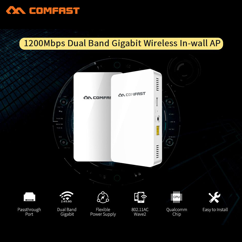 1200Mbps 5.8G dual band gigabit Wireless in Wall AP for Hotel Embedded Access Point Wi Fi Wireless POE Supported Wireless Router