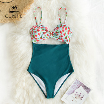 CUPSHE Mini Hibiscus and Solid Blue One-Piece Swimsuit Sexy Cut Out Bowknot Women Monokini 2020 Girl Beach Bathing Suit Swimwear 4