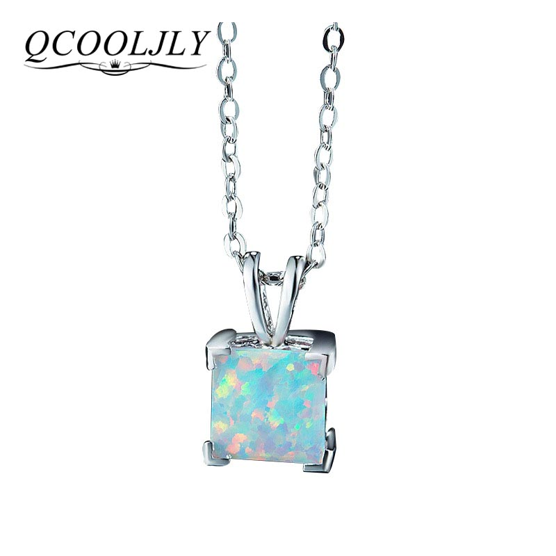 QCOOLJLY NEW 2018 Charming Fashion Mini Shiny Square Necklace Rainbow Opal Choker Necklace For Women Jewelry Wholesale