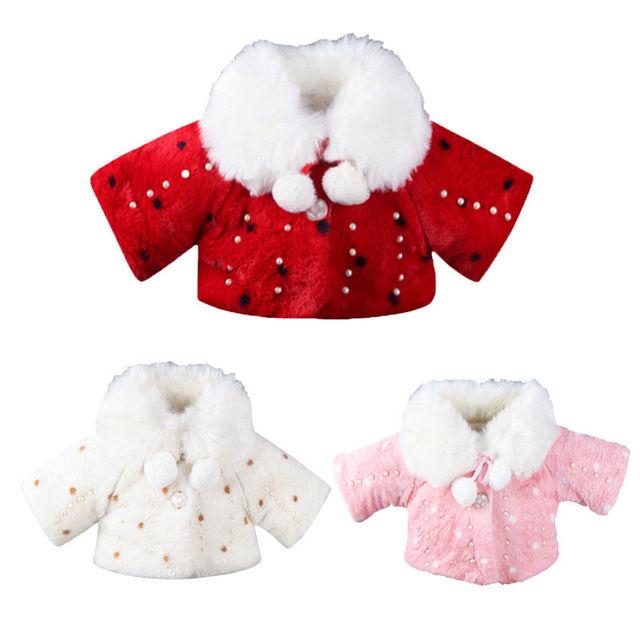 Baby Girl Warm Coats Autumn Winter Baby Girl Coat Faux Fur Pearl Fleece Shawl 2017 New Bebes Kid Outerwear Princess Jacket Coats