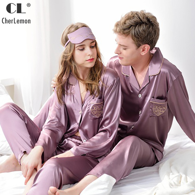 293e9f9db0 CherLemon Classic Silk Satin Pajama Set Couple Button Up Long Sleeve Sleepwear  Autumn Solid Loungewear Set