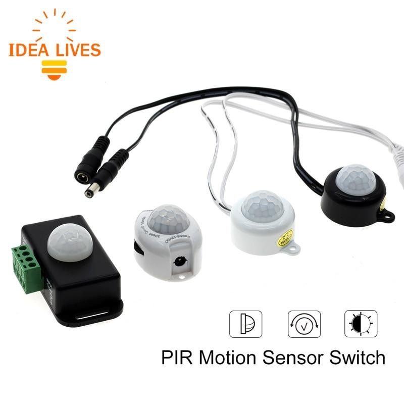 Human Body Infrared PIR Motion Sensor Switch DC12-24V 5A /6A With DC Plug For LED Strip infrared pir motion sensor switch for led light strip automatic dc 5v 30v 10a h028