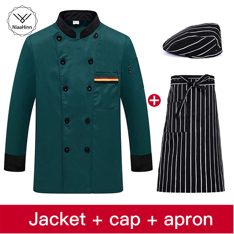 Long Sleeve Chef Workwear High Quality Restaurant Hotel Uniform Coffee Waiter Uniforms Casual Tops Chef Jacket Sushi Costume