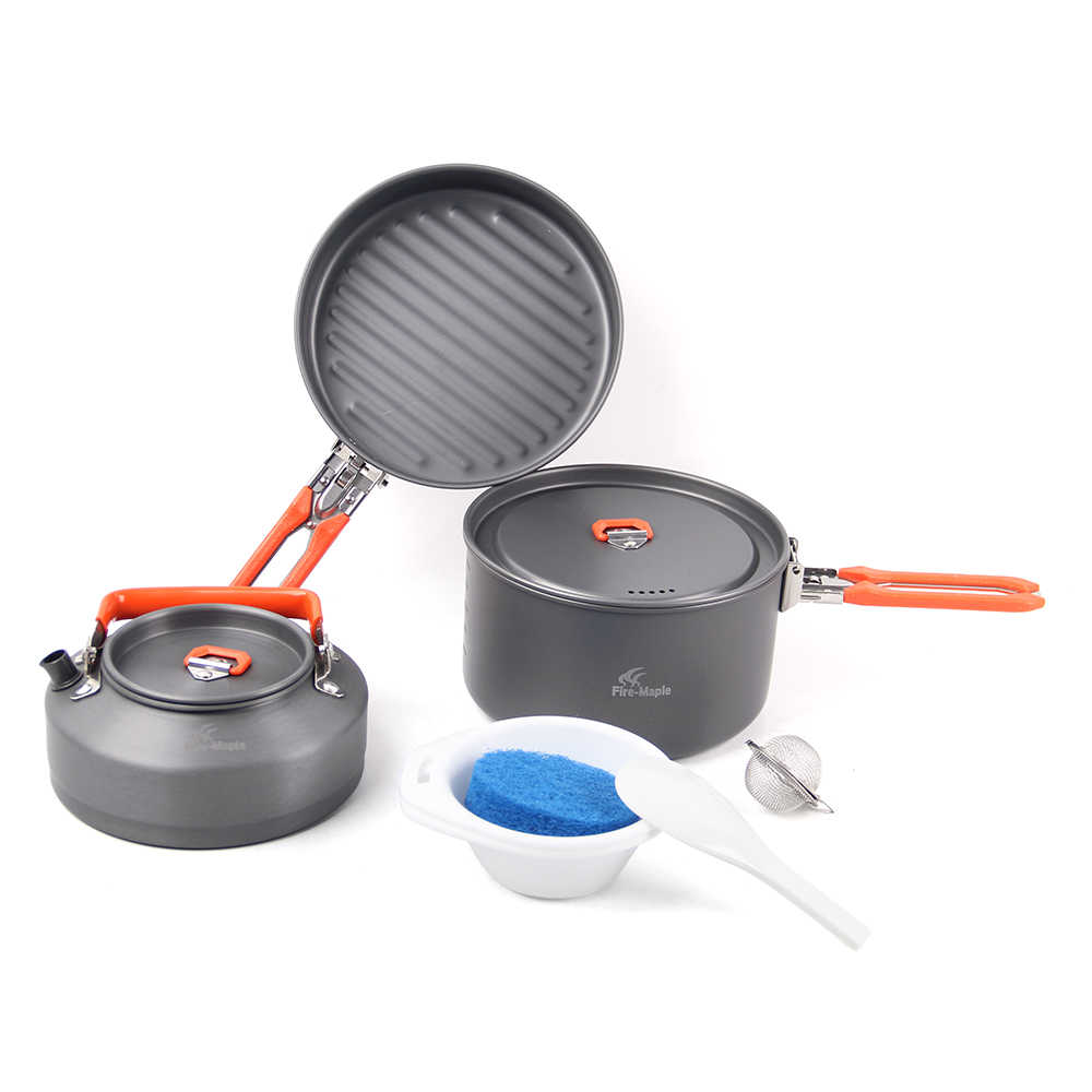 Berkemah Di Luar Ruangan 7 Pcs Peralatan Masak Set Hiking Backpacking Piknik Memasak Pot Frypan Ketel Set dengan Foldable Handle untuk 2- 3 Orang