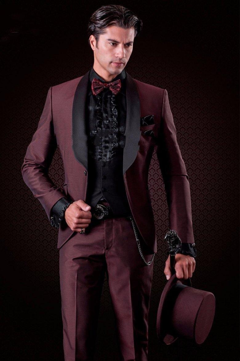 Fashion Slim Fit Burgundy Groom Tuxedos(Jacket+Pants+Tie+Vest) Excellent Groomsman Men Formal Business Party Blazer Suits Men
