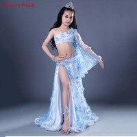 New white lace Luxury Belly Dance bra+skirt Set 2pcs For Kids /Children /Girls Sexy Handmade Belly Dance Long Skirt