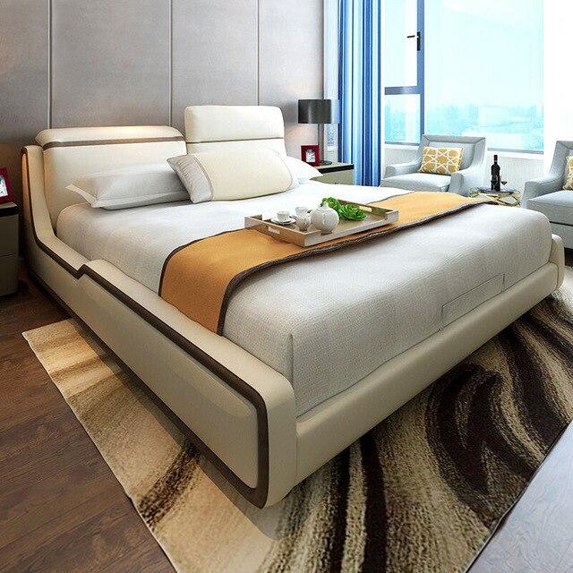 1,8 Mt Moderne Beige Spitzenkorn Leder Bett Schlafzimmer Möbel # CE 096