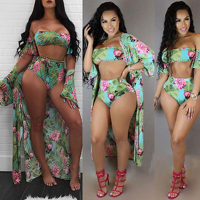 3Pcs Women Bikini Set+Cover Up Padded Srapless High Waist Bandeau Floral Print Swimsuit Swimwear Beachwear Bathing Suit