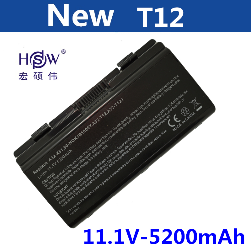 HSW 6cell laptop battery for Asus T12C T12Er T12Fg T12Jg T12Ug X51H X51L X51R X51RL X58 X58C X58L X58Le A31-T12 A32-T12 A32-X51