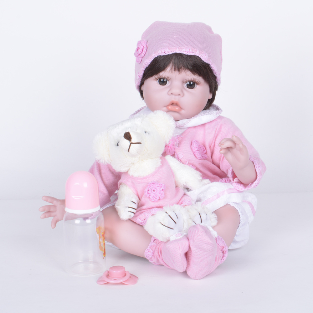 Lovely Reborn Dolls Realistic Soft Silicone Girl Baby Dolls 22 inch   Fashion Stuff Doll with Pink Dress   Kids Birthday Xmas handmade 22 inch newborn baby girl doll lifelike reborn silicone baby dolls wearing pink dress kids birthday xmas gift