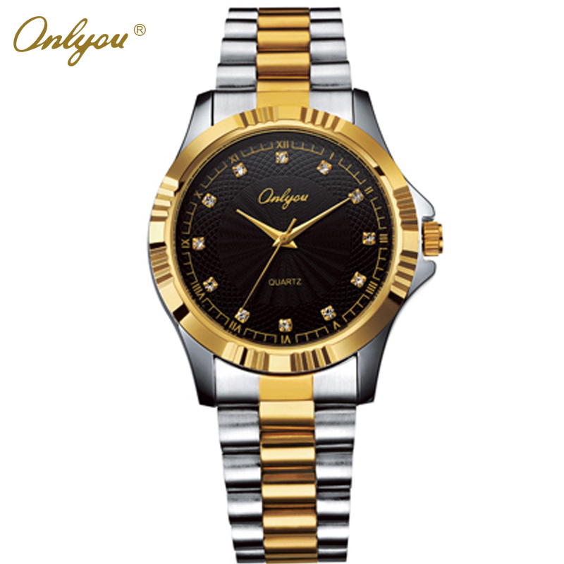 Women Men Watches Quartz-Analog Stainless Steel Gold With Diamond Wrist Watch For Men Women Ladies Dress Watch Reloj Hombre 8807 migeer fashion man stainless steel analog quartz wrist watch men sports watches reloj de hombre 2017 20 gift
