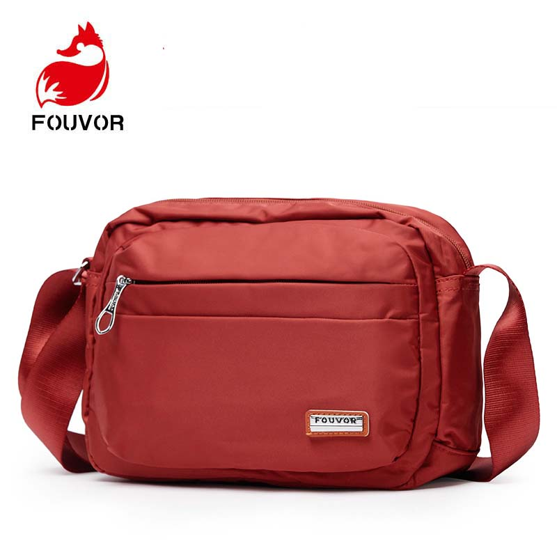 Fouvor Women Fashion Solid Color Zipper Nylon Shoulder Bag Female Crossbody Bag Ladies Bolsa Waterproof Travel