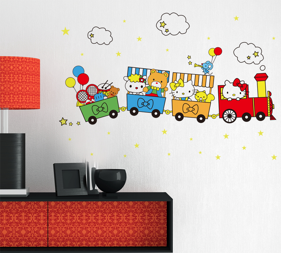 O Kitty And Friends Travel By Train Wall Stickers Cartoon Wall Decals For Kids Rooms Girls Nursery School Decoration In Wall Stickers From Home