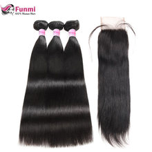 Peruvian Straight Virgin Hair Bundles with Closure with Baby Hair Unprocessed Straight Human Hair Bundles with Closure Funmi(China)
