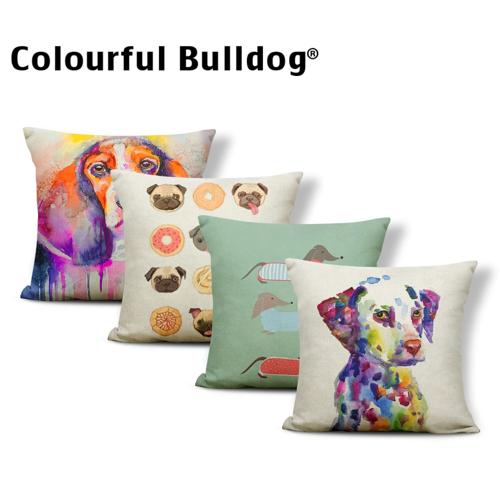 Personalized Painted Dog Pillows Dachshund Pug Letters Red Heart Shaped Pillows Apartment Dormitory Sofa Bed Cushion Cover 45*45 image