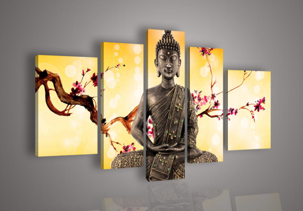 5 Panel Wall Art Religion Buddha Oil Painting On Canvas Large Cheap ...