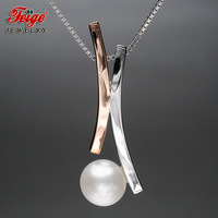 New Design 8 9MM Perfectly Round Natural Freshwater Pearl Pendant Necklaces for Women Real 925 Silver Chain Fine Jewelry FEIGE